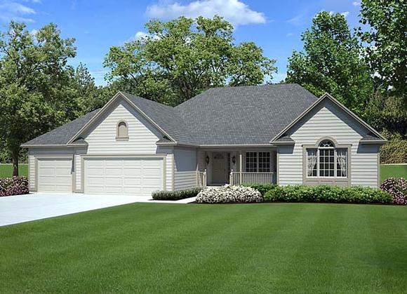 Country, Ranch, Southern, Traditional House Plan 10839 with 3 Beds, 2 Baths, 3 Car Garage Elevation