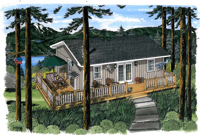 Cabin, Traditional House Plan 20003 with 3 Beds, 1 Baths Elevation