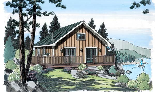 Cabin, Cottage, Traditional House Plan 20004 with 3 Beds, 1 Baths Elevation