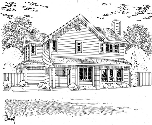 Traditional House Plan 20226 with 3 Beds, 3 Baths, 2 Car Garage Rear Elevation