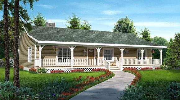 Country, Ranch, Traditional House Plan 20227 with 3 Beds, 2 Baths Elevation