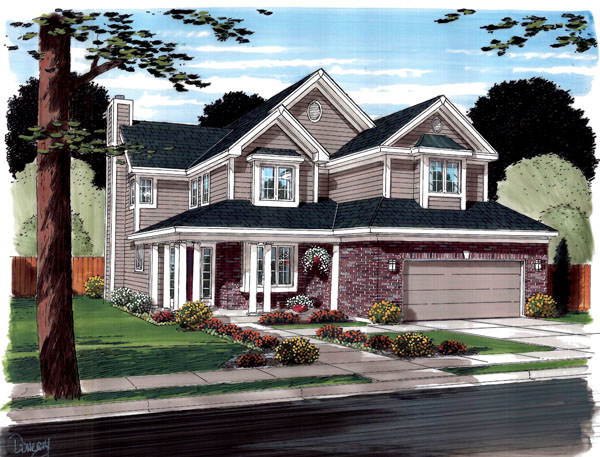 Contemporary, Traditional House Plan 20235 with 3 Beds, 3 Baths, 2 Car Garage Elevation