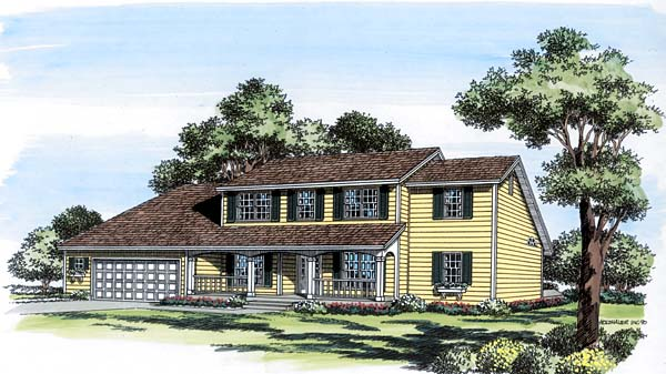 Colonial, Country, Saltbox House Plan 20404 with 5 Beds, 4 Baths, 2 Car Garage Elevation