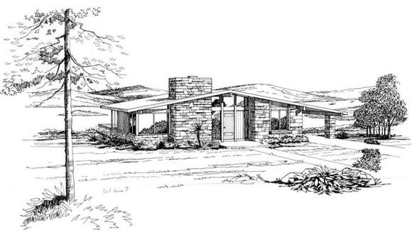 Contemporary, Retro House Plan 21122 with 2 Beds, 1 Baths, 1 Car Garage Elevation