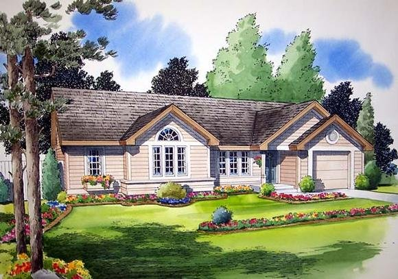 One-Story, Ranch, Traditional House Plan 24302 with 3 Beds, 2 Baths, 1 Car Garage Elevation