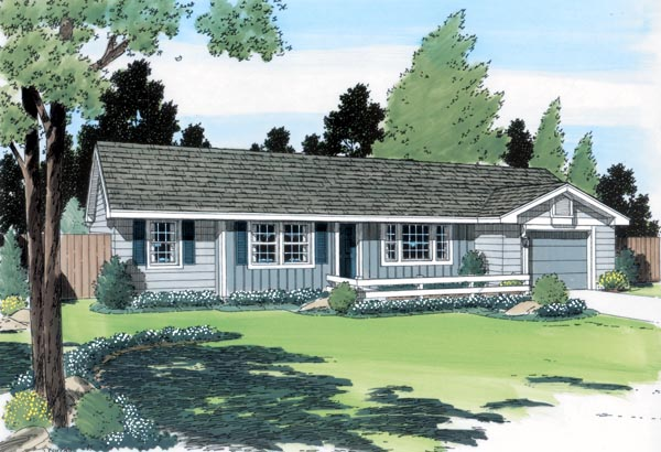 One-Story, Ranch, Traditional House Plan 24303 with 3 Beds, 2 Baths, 1 Car Garage Elevation