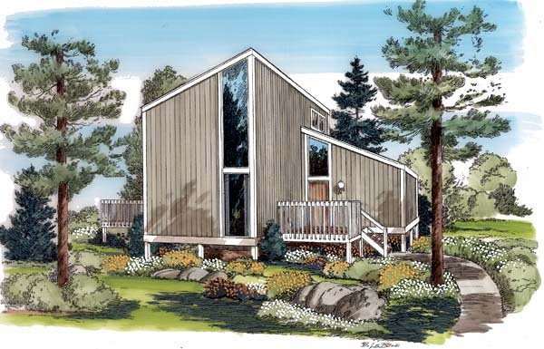 Contemporary, Modern House Plan 24307 with 3 Beds, 2 Baths Elevation