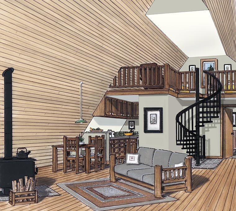 A-Frame, Contemporary, Retro House Plan 24308 with 2 Beds, 1 Baths Picture 1