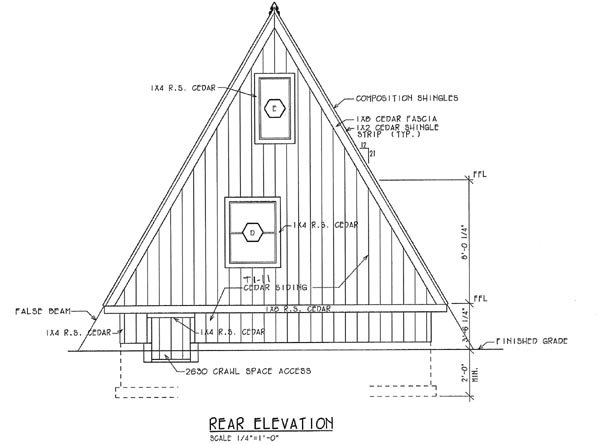 A-Frame, Contemporary, Retro House Plan 24308 with 2 Beds, 1 Baths Rear Elevation