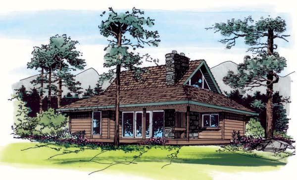 Cabin, Country, Southern House Plan 24309 with 2 Beds, 1 Baths Elevation