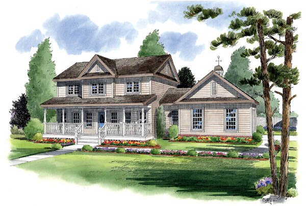Country, Farmhouse, Traditional House Plan 24405 with 4 Beds, 4 Baths, 2 Car Garage Elevation