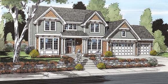 Colonial, Craftsman, European, Traditional House Plan 24567 with 3 Beds, 3 Baths, 3 Car Garage Elevation