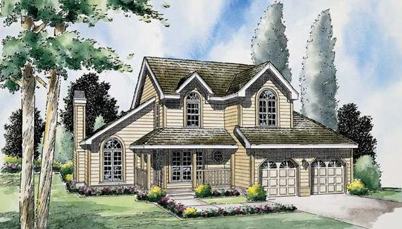 Country, Traditional House Plan 24654 with 3 Beds, 3 Baths, 2 Car Garage Elevation