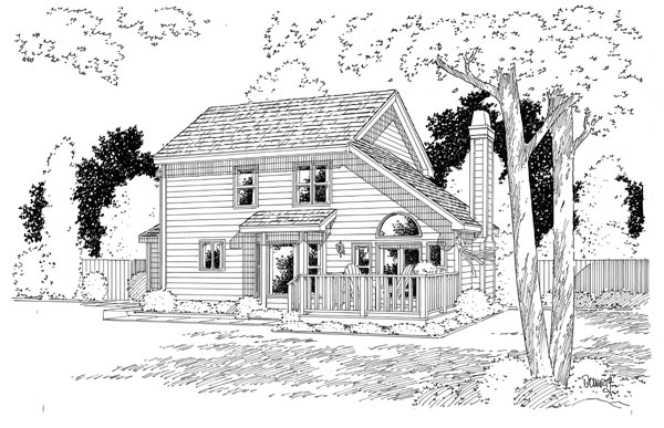 Country, Traditional House Plan 24654 with 3 Beds, 3 Baths, 2 Car Garage Rear Elevation