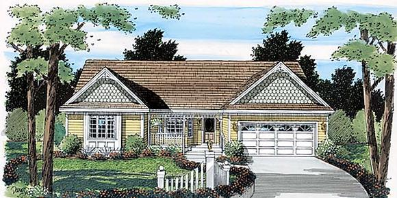Country, One-Story, Ranch, Southern House Plan 24715 with 2 Beds, 2 Baths, 2 Car Garage Elevation