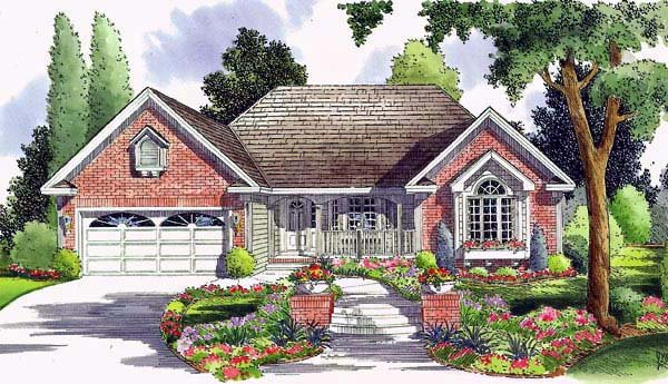 Country, Ranch, Traditional House Plan 24744 with 3 Beds, 2 Baths, 2 Car Garage Elevation