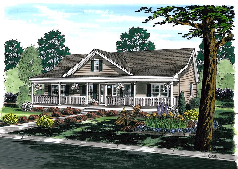 Country, Ranch, Traditional House Plan 25102 with 3 Beds, 2 Baths Picture 1