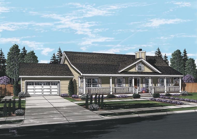 Country, Ranch, Traditional House Plan 25103 with 3 Beds, 2 Baths, 2 Car Garage Picture 1