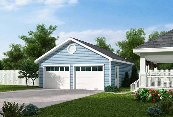 Country, Traditional 2 Car Garage Plan 30000 Elevation