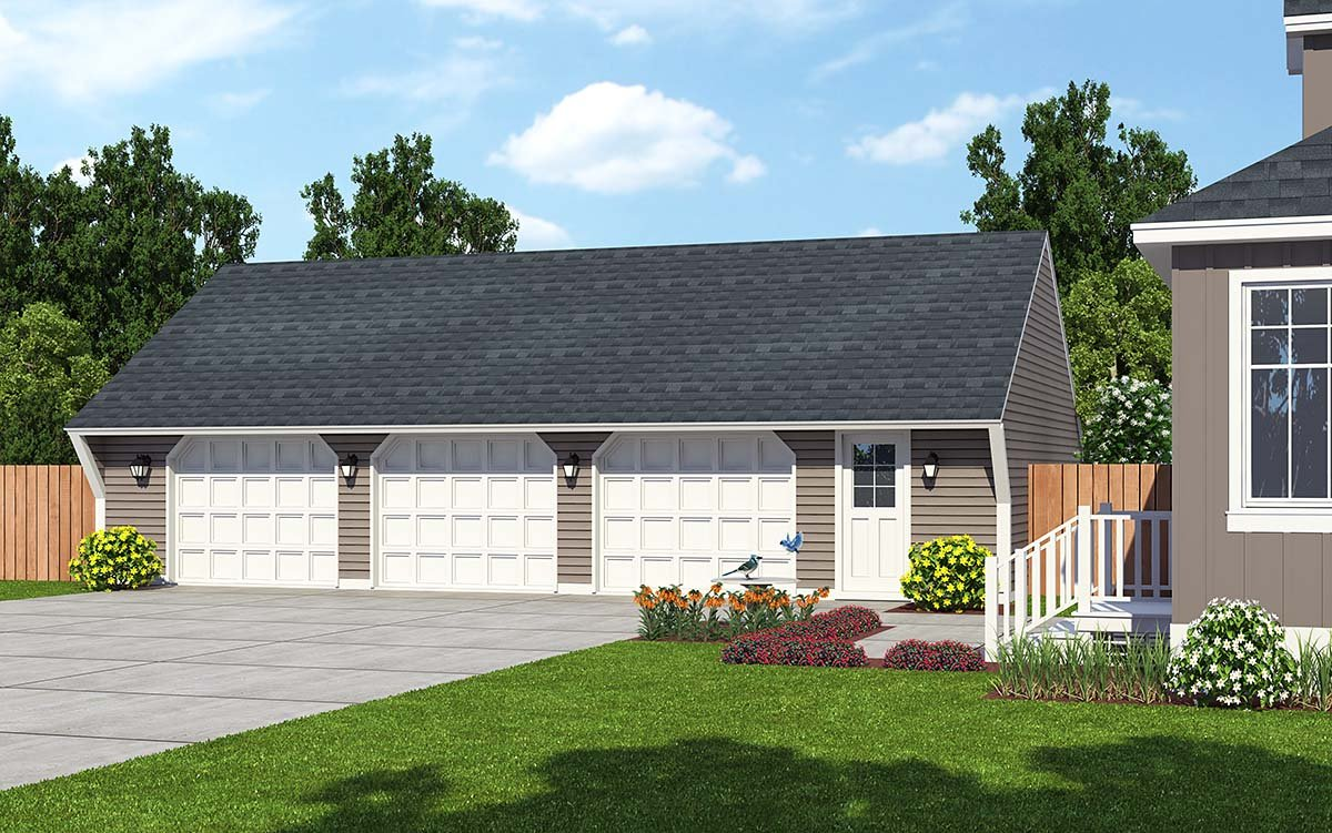 Cape Cod, Saltbox, Traditional 3 Car Garage Plan 30023 Elevation
