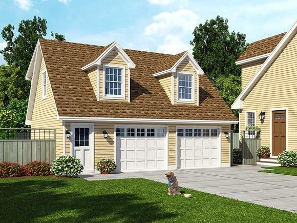 Cape Cod, Cottage, Country, Farmhouse, Saltbox 2 Car Garage Apartment Plan 30030 with 1 Beds, 1 Baths Elevation