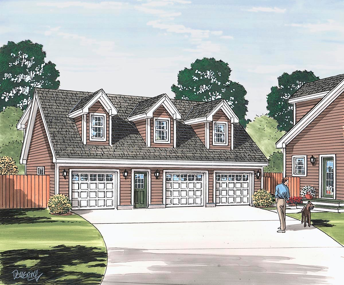 Cape Cod, Country, Traditional 3 Car Garage Apartment Plan 30032 with 2 Beds, 2 Baths Picture 1