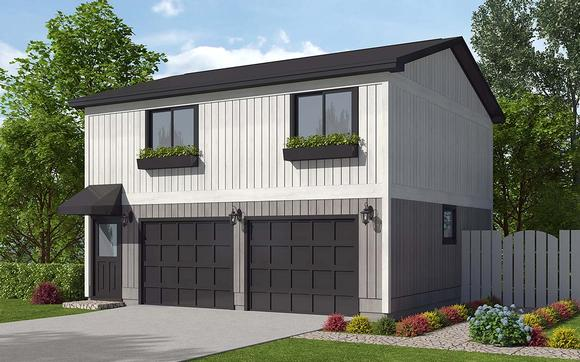 Contemporary, Traditional Garage-Living Plan 30040 with 2 Beds, 1 Baths, 2 Car Garage Elevation