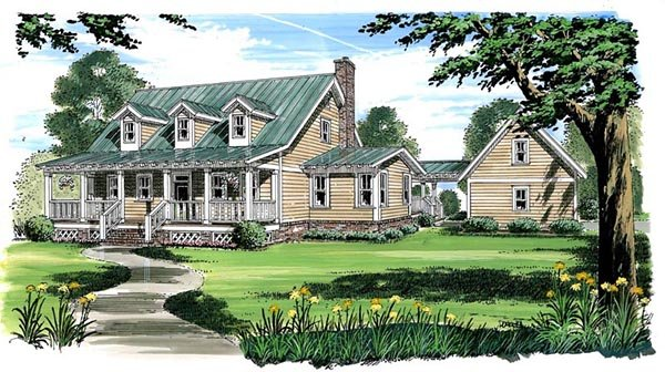 Country, Farmhouse, Traditional House Plan 30500 with 3 Beds, 3 Baths, 2 Car Garage Elevation