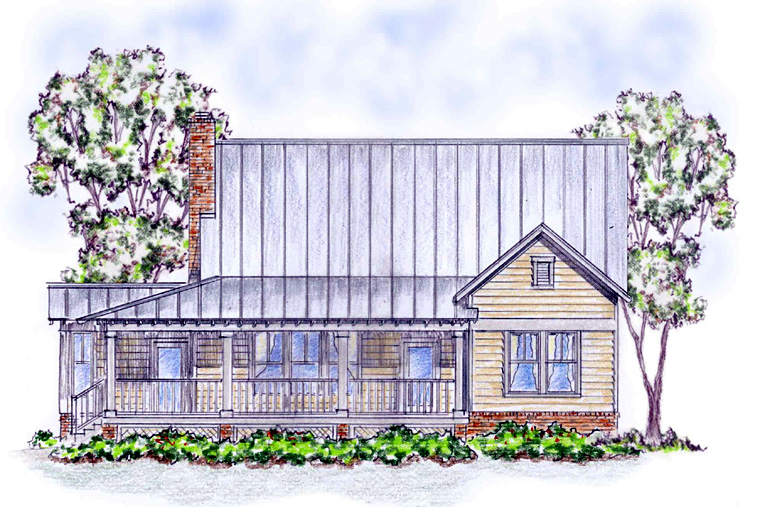 Country, Farmhouse, Traditional House Plan 30500 with 3 Beds, 3 Baths, 2 Car Garage Rear Elevation