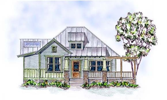 Colonial, Cottage, Craftsman House Plan 30506 with 2 Beds, 2 Baths Elevation