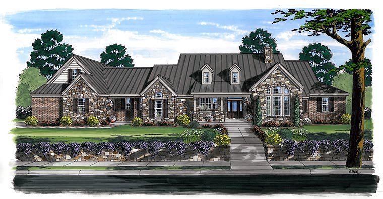 Craftsman, European, Farmhouse, Ranch House Plan 30507 with 3 Beds, 4 Baths, 3 Car Garage Elevation