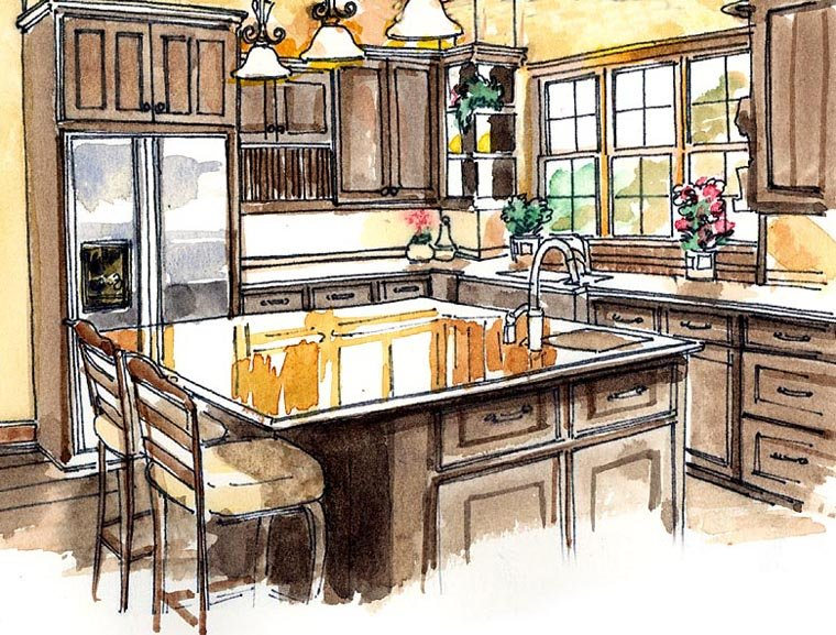 Craftsman, European, Farmhouse, Ranch House Plan 30507 with 3 Beds, 4 Baths, 3 Car Garage Picture 2