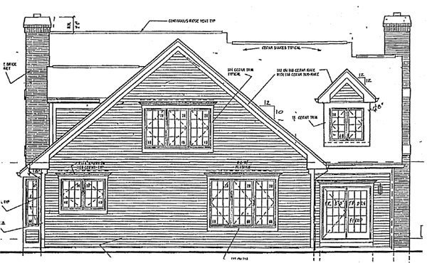 Cape Cod, Contemporary, Country, Traditional House Plan 32025 with 4 Beds, 4 Baths Rear Elevation
