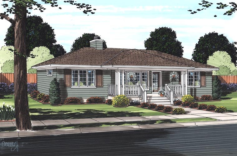Bungalow, Cottage, Country, One-Story House Plan 32323 with 2 Beds, 2 Baths Picture 1