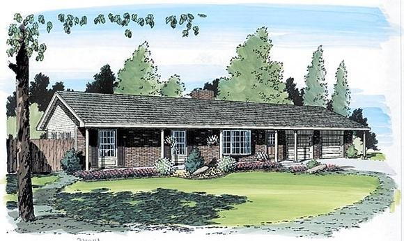 One-Story, Ranch, Traditional House Plan 34014 with 4 Beds, 2 Baths, 2 Car Garage Elevation