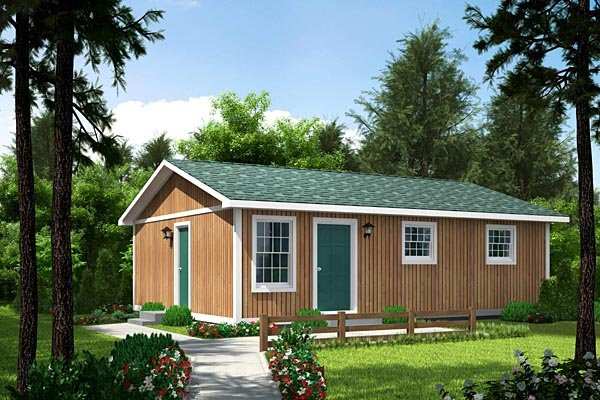 Cabin, One-Story, Ranch House Plan 34020 with 3 Beds, 1 Baths Elevation