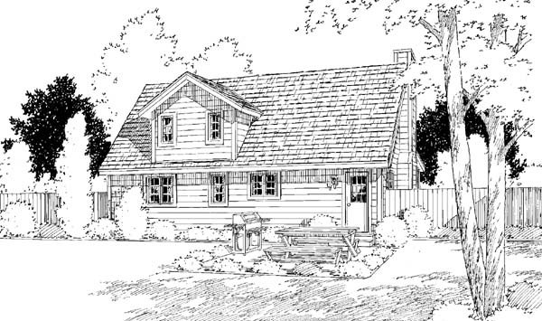 Country, Farmhouse, Traditional House Plan 34600 with 3 Beds, 2 Baths Rear Elevation