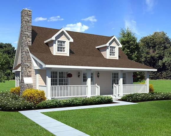 Cape Cod, Cottage, Country House Plan 34601 with 3 Beds, 2 Baths Elevation