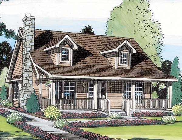 Cape Cod, Cottage, Country House Plan 34601 with 3 Beds, 2 Baths Picture 1