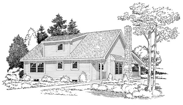 Cape Cod, Cottage, Country House Plan 34601 with 3 Beds, 2 Baths Rear Elevation