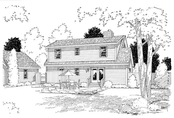 Country, Farmhouse, Southern House Plan 34603 with 3 Beds, 3 Baths Rear Elevation