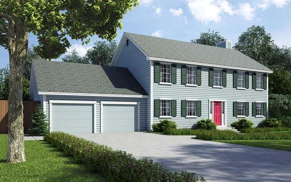 Colonial, Saltbox, Traditional House Plan 34705 with 4 Beds, 3 Baths, 2 Car Garage Elevation
