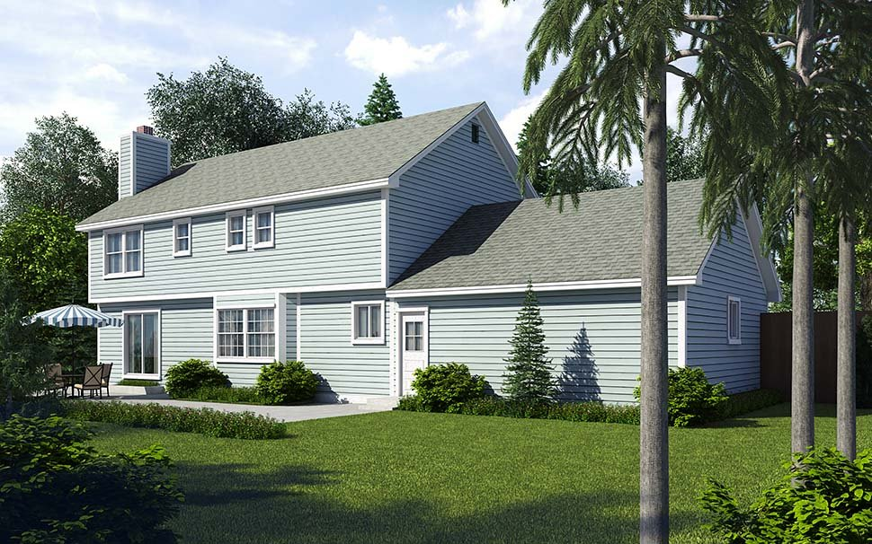 Colonial, Saltbox, Traditional House Plan 34705 with 4 Beds, 3 Baths, 2 Car Garage Rear Elevation