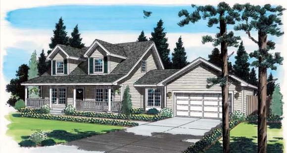 Cape Cod, Country, Southern House Plan 35001 with 3 Beds, 3 Baths, 2 Car Garage Elevation