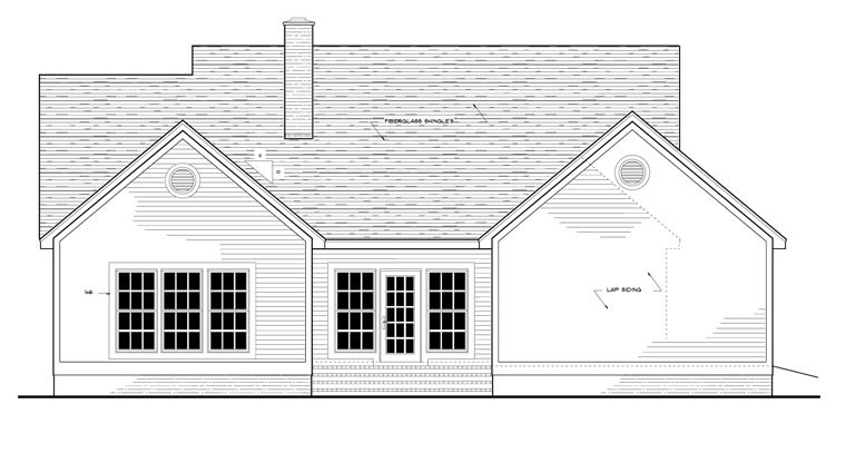 Country, European, Ranch House Plan 40006 with 3 Beds, 2 Baths, 2 Car Garage Rear Elevation