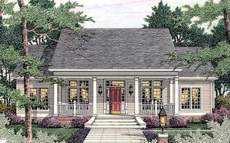 Colonial, Country, Southern House Plan 40014 with 4 Beds, 3 Baths, 2 Car Garage Elevation