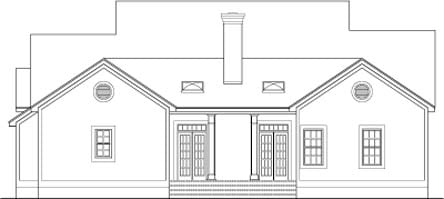 Colonial, Country, Southern House Plan 40014 with 4 Beds, 3 Baths, 2 Car Garage Rear Elevation