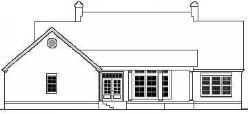 Cape Cod, Colonial, Southern House Plan 40018 with 3 Beds, 2 Baths, 2 Car Garage Rear Elevation