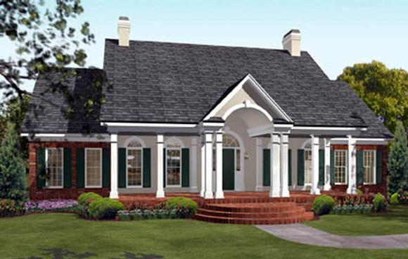 Colonial, European, Southern House Plan 40019 with 3 Beds, 3 Baths, 2 Car Garage Elevation