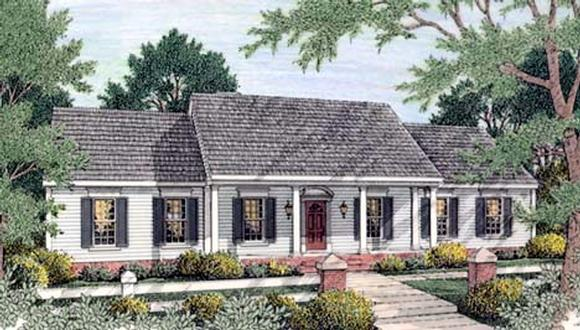 Colonial, Ranch House Plan 40022 with 3 Beds, 2 Baths, 2 Car Garage Elevation